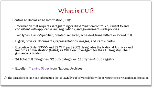 What is CUI?
