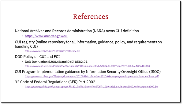 CUI References