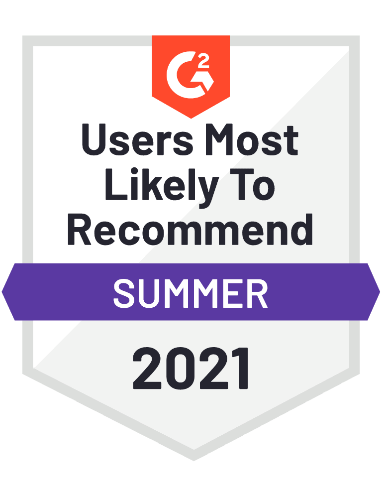 Users Most Likely to Recommend - G2 Badge 2021