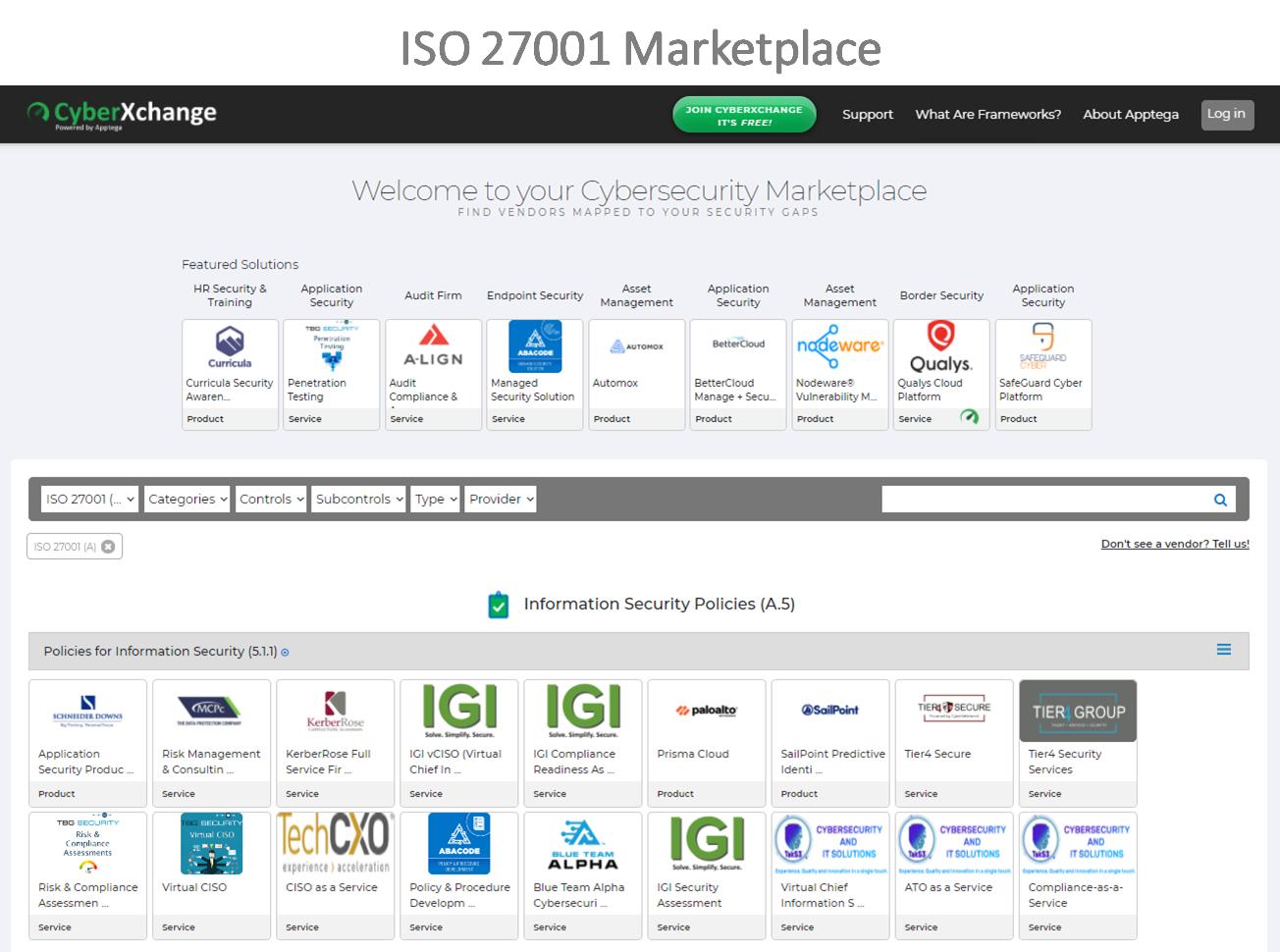 ISO 27001 Marketplace