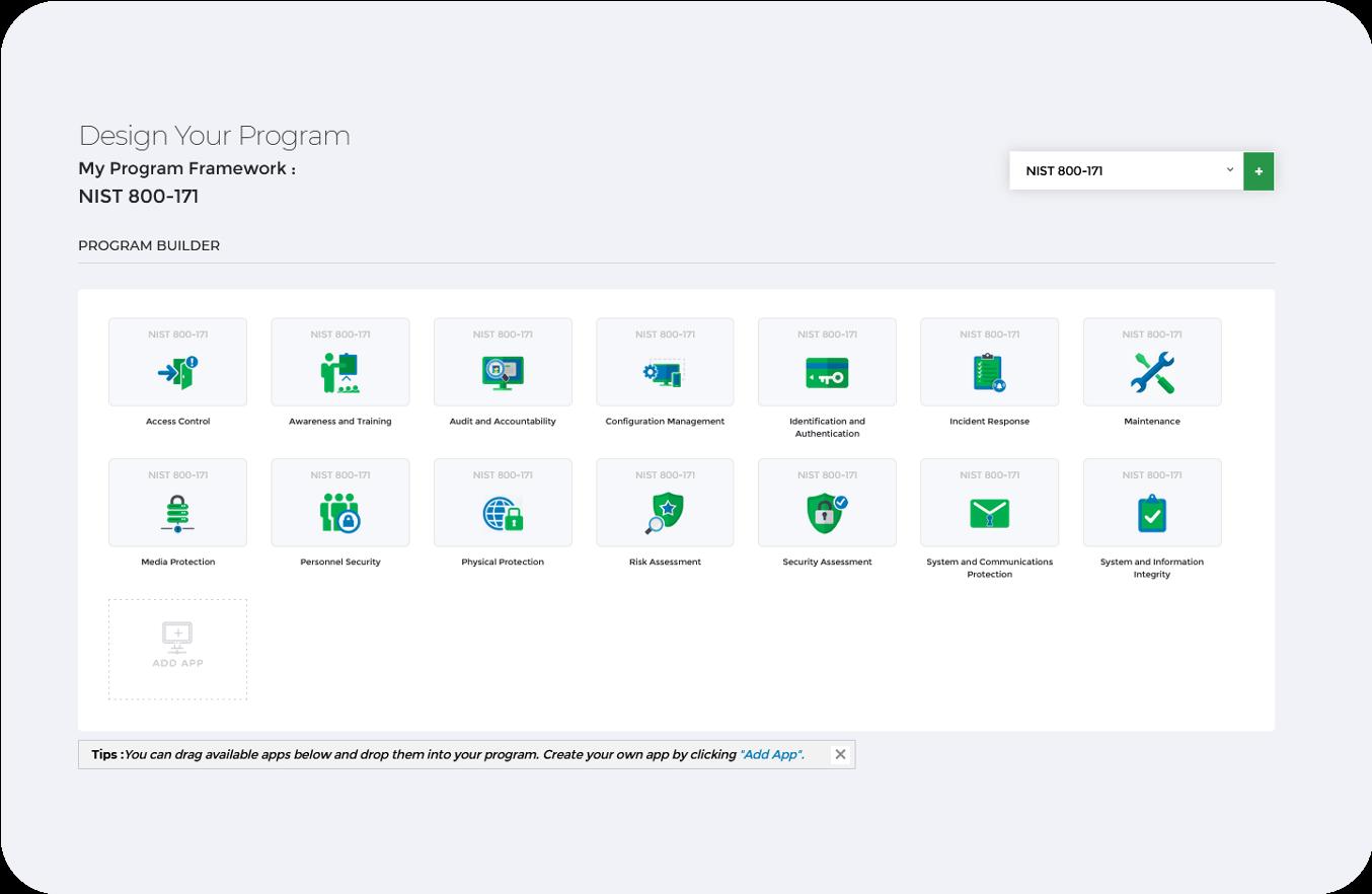 NIST 800-171 Framework Dashboard