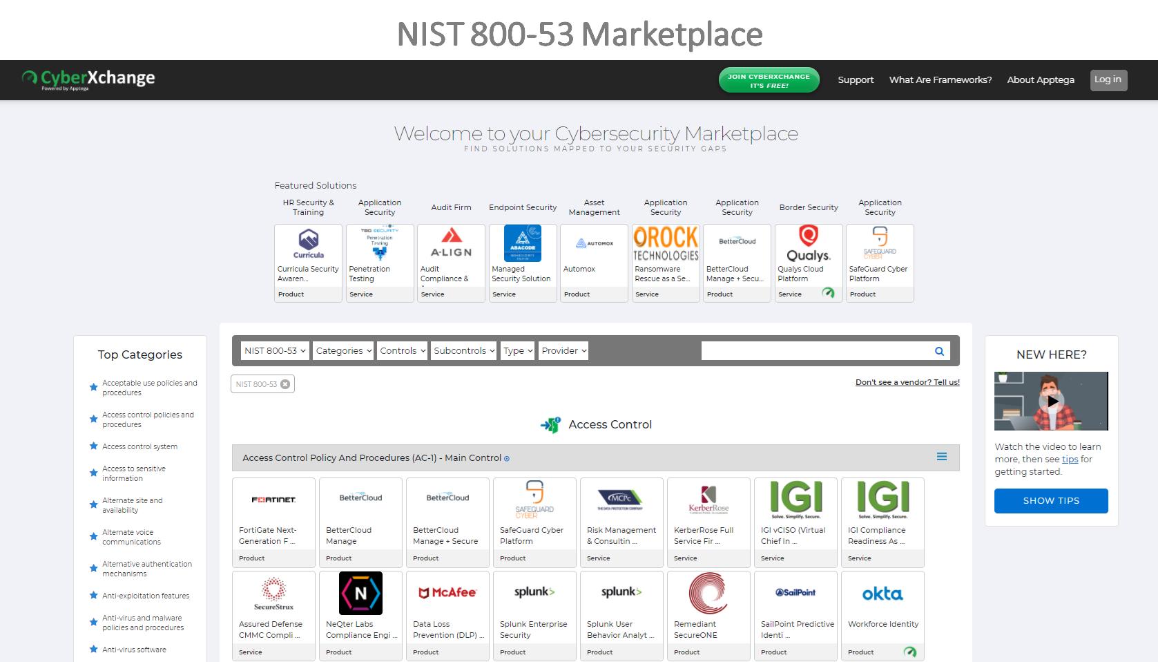 NIST 800-53 Marketplace Dashboard