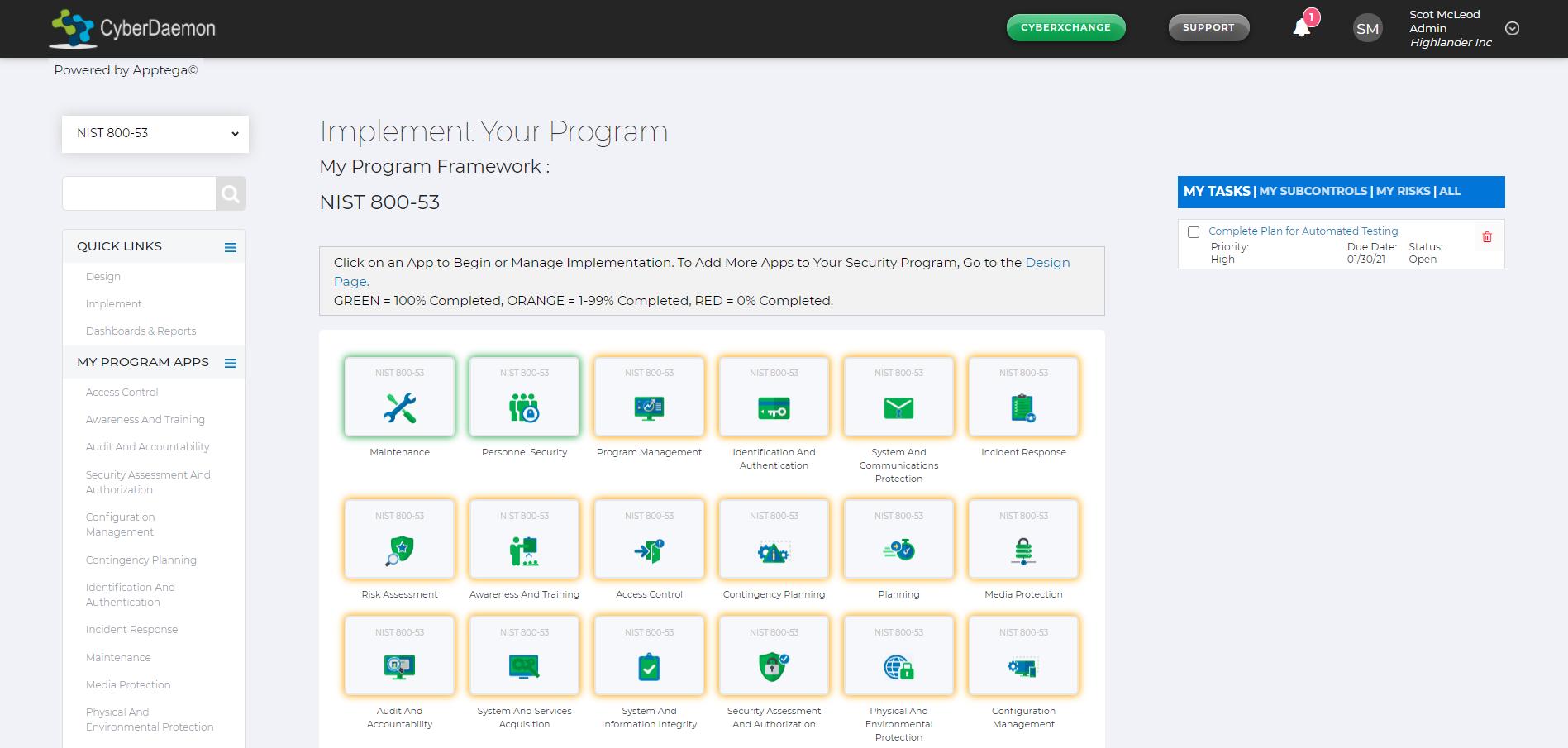NIST 800-53 Implementation Screenshot